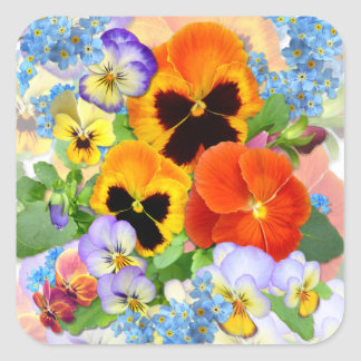 Pansies & Forget-me-not Square Sticker