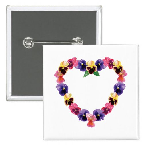 Pansies Heart Pinback Buttons