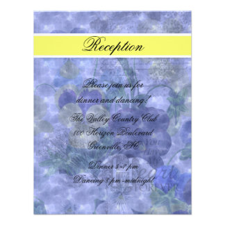 Pansies Heart Wedding Reception Card Invitations