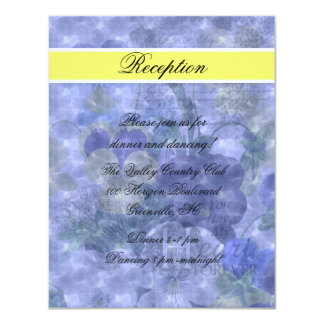 Pansies Heart Wedding Reception Card Invitations