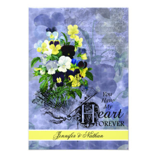 Pansies Heart Wedding RSVP Card Personalized Invitations