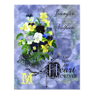 Pansies Heart Wedding RSVP Cards 11 Cm X 14 Cm Invitation Card
