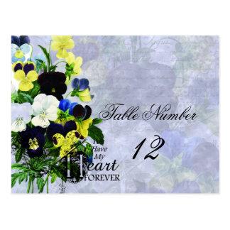Pansies Heart Wedding Table Number Postcard