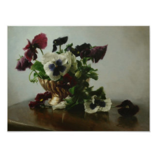 Pansies in a Brass Bowl Poster