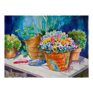 Pansies in Copper Pot Poster