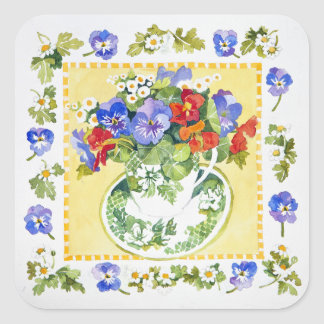 Pansies - nasturtiums 2013 square sticker