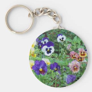 Pansies of summer key ring