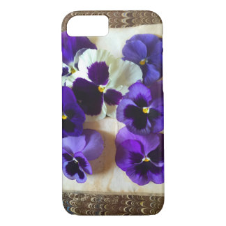 Pansies on an old book iPhone 7 case
