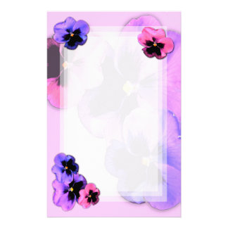 Pansies on Pink Stationery