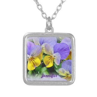 Pansies - Purple and Yellow Silver Plated Necklace