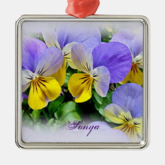 Pansies - Purple asnd Yellow Christmas Ornament
