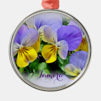 Pansies - Purple asnd Yellow Silver-Colored Round Decoration