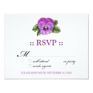 "Pansies RSVP 4.25x5.5"" Response Card 11 Cm X 14 Cm Invitation Card"