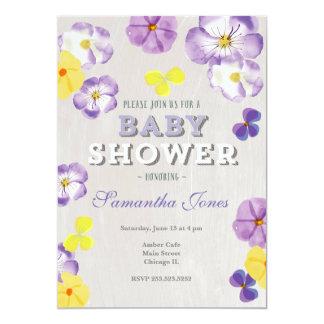 Pansies violas baby shower invitation
