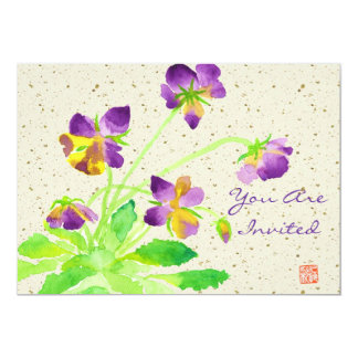 Pansies Watercolor Painting Purple Yellow Washi 13 Cm X 18 Cm Invitation Card