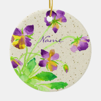 Pansies Watercolor Painting Purple Yellow Washi Ornament