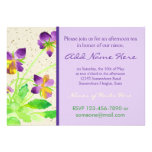 Pansies Watercolor Painting Purple Yellow Washi Custom Invitations