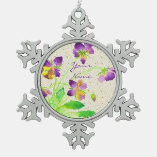 Pansies Watercolor Painting Purple Yellow Washi Pewter Snowflake Decoration