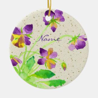 Pansies Watercolor Painting Purple Yellow Washi Round Ceramic Decoration