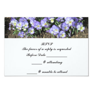 "Pansies Wedding RSVP Reply 3.5"" X 5"" Invitation Card"