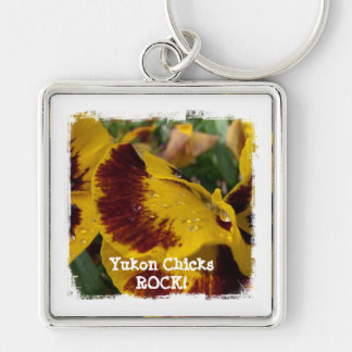 Pansies with Water Droplets; Yukon Chicks ROCK! Silver-Colored Square Key Ring