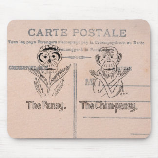Pansy and Chimp Humor Mouse Pad