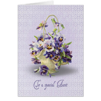 Pansy Birthday for Aunt Greeting Card