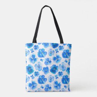 Pansy blue flower watercolor art bag