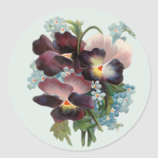 Pansy Bouquet Classic Round Sticker