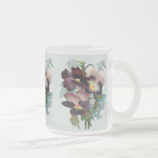 Pansy Bouquet 10 Oz Frosted Glass Coffee Mug