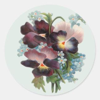 Pansy Bouquet Round Sticker