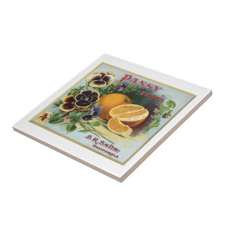 Pansy Brand Oranges Fruit Label Small Square Tile