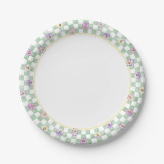 Pansy Check Border Paper Plate 7 Inch Paper Plate