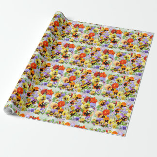 Pansy Collage Wrapping Paper