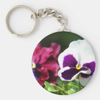 Pansy Flower Basic Round Button Key Ring