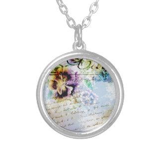 Pansy flower cursive flourish necklaces