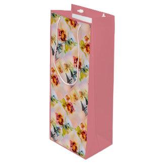Pansy flower feminine for her wine gift bag