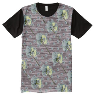 Pansy Flower Pattern Marl All-Over Print T-Shirt