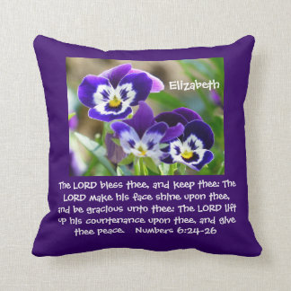 Pansy Flower & Scripture Throw Pillow Cushions