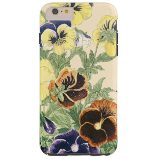 Pansy Flower Woodblock Print Tough iPhone 6 Plus Case