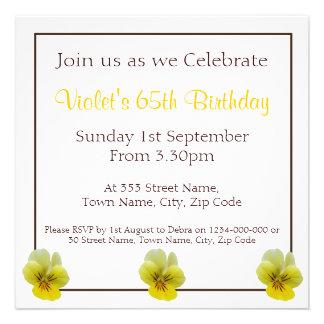 Pansy Flowers Birthday Invitation