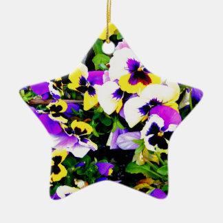 pansy flowers ceramic star decoration