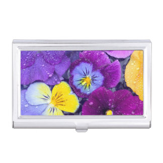 Pansy flowers floating in bird bath with dew 2 business card holder