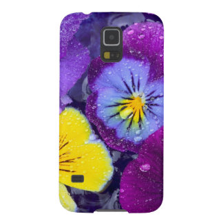 Pansy flowers floating in bird bath with dew 2 galaxy s5 covers