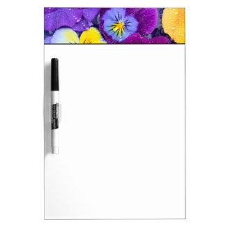 Pansy flowers floating in bird bath with dew 2 dry erase boards