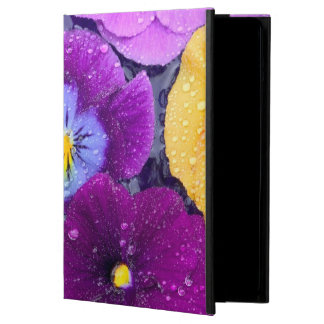 Pansy flowers floating in bird bath with dew 2 iPad air cover