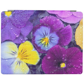 Pansy flowers floating in bird bath with dew 2 iPad cover