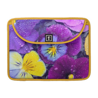 Pansy flowers floating in bird bath with dew 2 MacBook pro sleeves