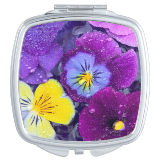 Pansy flowers floating in bird bath with dew 2 mirrors for makeup