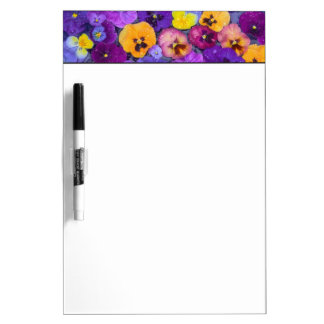 Pansy flowers floating in bird bath with dew dry erase board